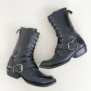 John Fluevog Warwicks Coventry Lace Up Boots Black